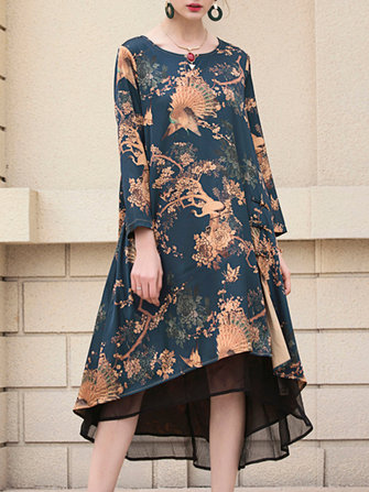 Floral Peacock Printed Dress