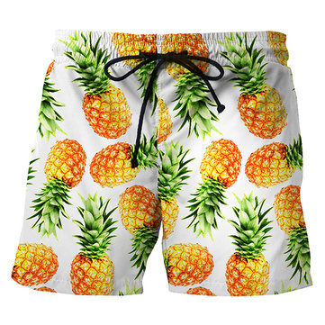 Creative Pineapple Printing Summer Casual Beach Board Shorts for Men