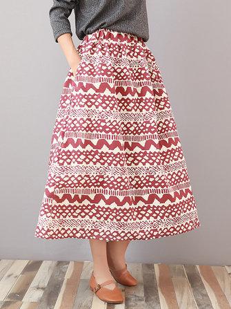 Casual Women Printed Elastic High Waist Skirt with Pocket