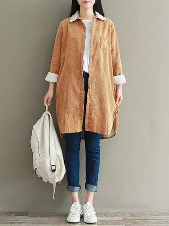 Plus Size Casual Women Corduroy Thick Fleece Jacket