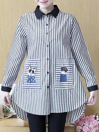 Plus Size Casual Women Cat Embroidery Stripe Blouse
