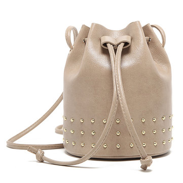 Women Casual Solid String Bag Large Capacity Bucket Bag Rive
