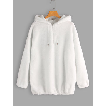Plus Size White Faux Fur Hooded Sweatshirt