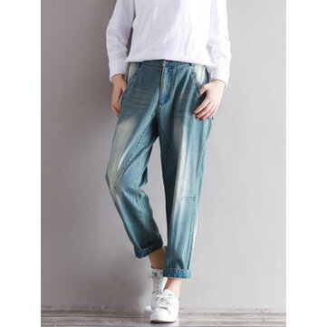 Vintage Casual Women Stitching Ankle-length Cotton Jeans With Pocket