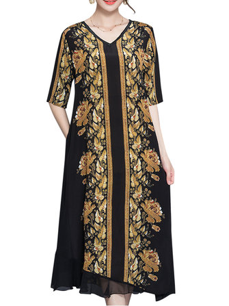 Women Vintage Wind Printing Half Sleeve V-Neck Silk Dress Midi Dress