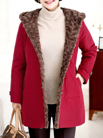 Casual Women Single Breasted Long Sleeve Fleece Lined Winter Warm Coat