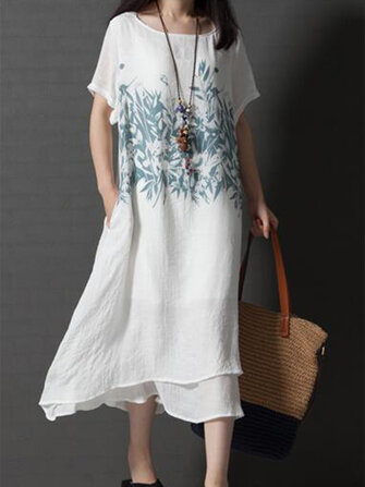 Casual Women Short Sleeve O-Neck Printed Asymmetrical Hem Dress