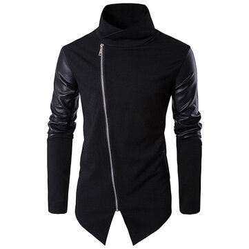 Asymmetric Inclined Placket Splicing Leather Sleelve Jacket