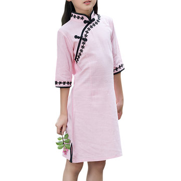 Chinese Style Kid Girls Half Sleeve Pink Cheongsam Dress