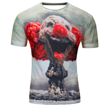 Summer Mens 3D Printing Fashion Casual Cotton Soft Tees Short Sleeve T-shirt