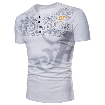 Mens Fashion Alphabetic Printed Short Sleeved T-shirt