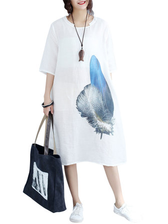 Loose Waist Women White Dress Blue Feather Print Cool Thin Linen Dresses