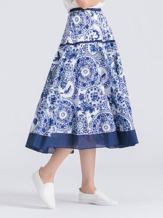 Floral Printed Elastic Waist Midi Swing Skirt For Women