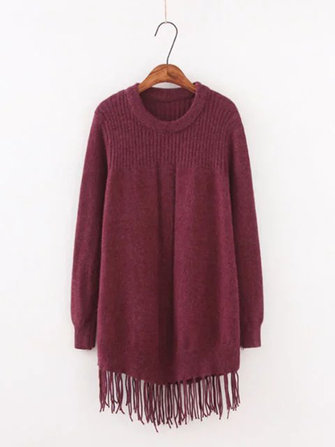 Plus Size Casual Women Tassel Woolen Sweaters