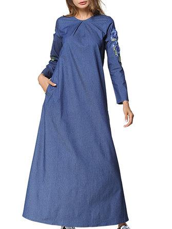 Květinové vyšívání kapesní Denim Maxi šaty a0f6562693