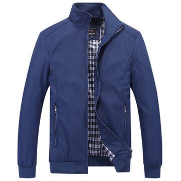 Casual Business Plus Size XS-5XL Pure Color Zipper Spring Autumn Jacket for Men