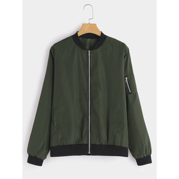 Plus Size Green Zipper Design Bomber Jacket