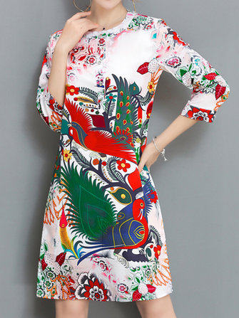 Women Retro Printing O-Neck Ethnic Style Three Quarter Sleeve Dress