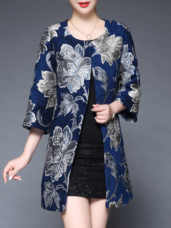 Plus Size Elegant Floral Printed Coat