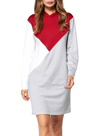 Casual Women Color Block Långärmad Hooded Sweatshirt Klänning