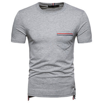 Stylish Elastic Short Sleeve Tee Tops Solid Color Slim Cool T-Shirts for Men
