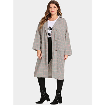 Plus Size Grid Self-Tie Design Button Coat