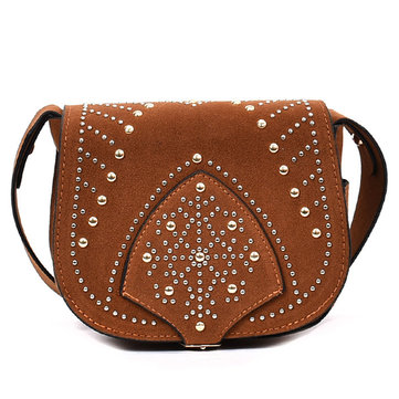 Women Nubuck Leather Rivet Crossbody Bags Large Capacity Shoulder Bags