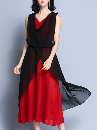 Elegant Women V-Neck Contrast Color Sleeveless Irregular Maxi Dress