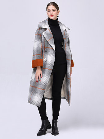 Plus Size Casual Women Plaid Color Patchwork Woolen Coats