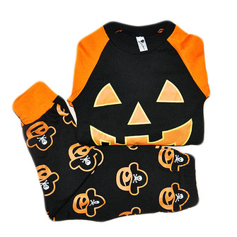 2Pcs Halloween Kids Cartoon Pumpkin Long Sleeve Tracksuit Costume