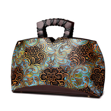 Women Retro Embroidery PU Leather Tote Bag Elegant Crossbody Bag