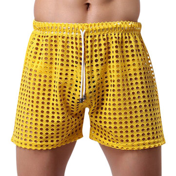 Sexy Mesh Hollow Super Breathable Soft Smooth Casual Fish Net-pants Men Homewear Shorts Pajamas