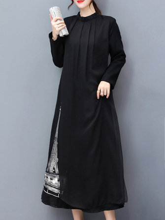 Elegant Women Black Long Sleeve Printed Maxi Dress
