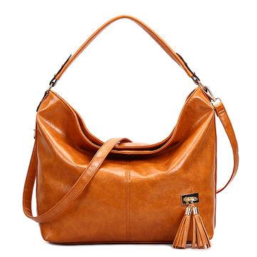 OilLeatherTasselWomenToteBag Casual Retro Hobos Bag