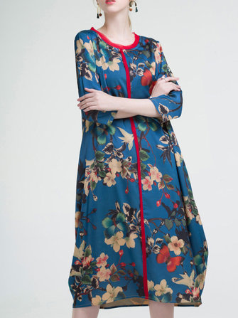 Floral Printed O-Neck Dress