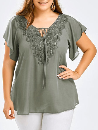 XL-5XL Elegant Women Lace Chiffon V-Neck Shirt