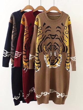 캐쥬얼 루스 여성 호랑이 무늬 풀오버 스웨터 원피스