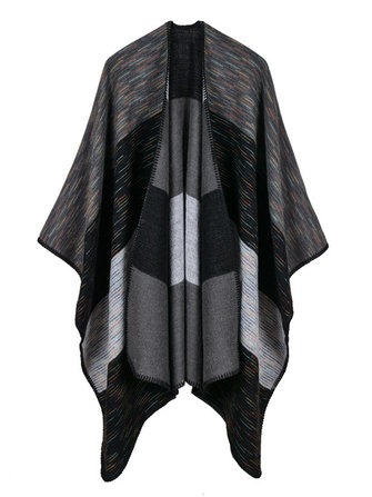 Women Sleeveless Contrast Color Blanket Winter Wrap