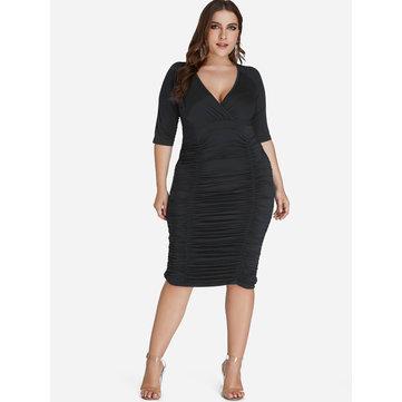 Black Ruched V-neck Wrap Dress