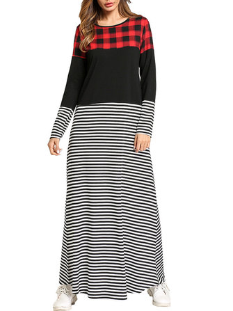 Casual Slim Women O-Neck Plaid Stripe Patchwork Maxi Dress