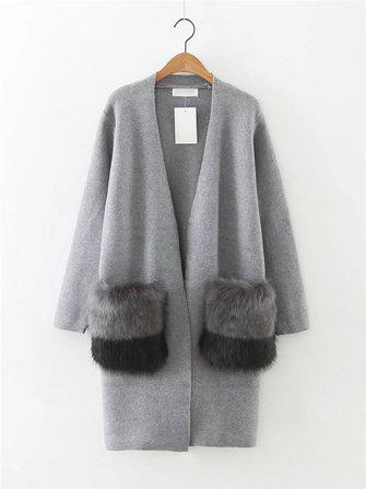 Casual Women Long Sleeve Faux Fur Pocket Open Front Cardigan