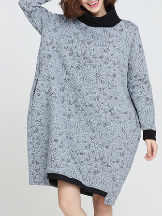 Loose Women Long Sleeve Turtleneck Printed Dress