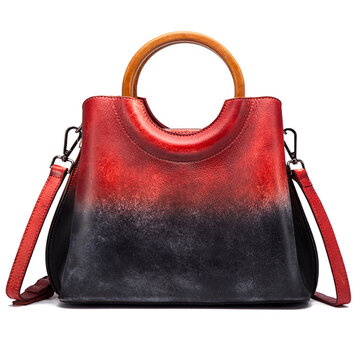 Brenice Cowhide Women Handmade Handbag Vintage Shoulder Crossbody Bag