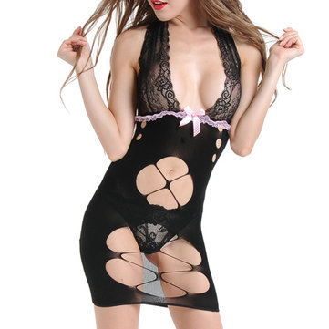 Women Sexy Deep Plunge Halter Hollow Out Backless Nightdress