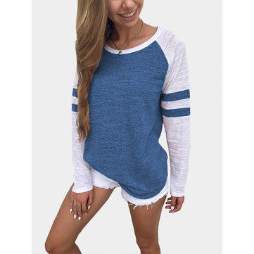 Blue Spell Color Round Neck Long Sleeves T-shirt
