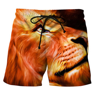 3D Lion Printing Casual Summer Holiday Beach Board Shorts for Men