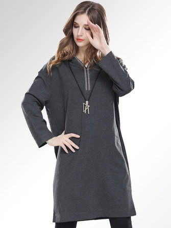 Plus Size Casual Women V-Neck Hooded Dresses