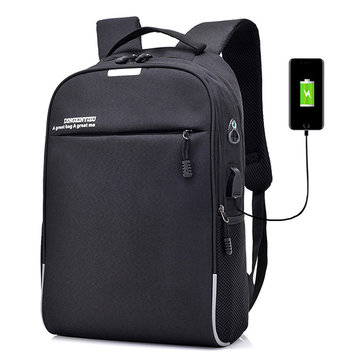 Men Coded Lock Anti-theft USB Charging Laptop Bag Backpack