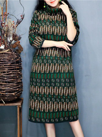 Vintage Women Geometric Printed Long Sleeve Turtleneck Quilted Dress