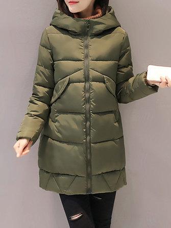 캐주얼 여성 긴 소매 순수한 색 지퍼 후드 코트 주머니